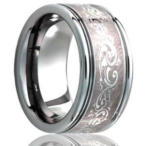 Deep groove Cobalt band, all high polish with scroll laser pattern Wedding Band-C127-V