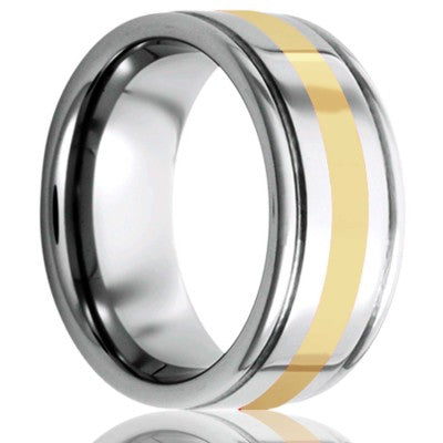 Deep groove Cobalt band, all high polish with a 2mm 14k yellow gold inlay Wedding Band-C127Y