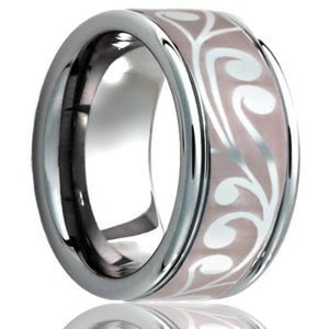 Deep groove Cobalt band, all high polish with laser pattern Wedding Band-C127-Z