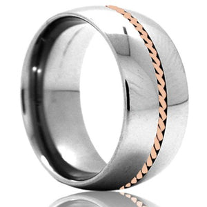 Dome Cobalt band, all high polish with a 1mm hand woven 14k rose gold inlay Wedding Band-C145R