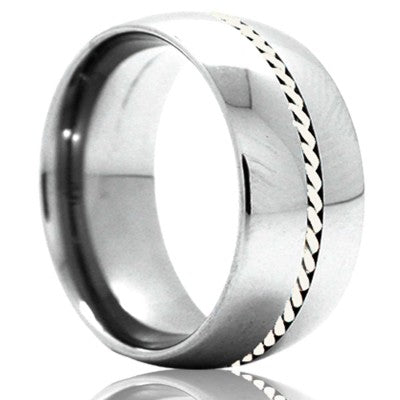 Dome Cobalt band, all high polish with a 1mm hand woven palladium inlay Wedding Band-C145PAL