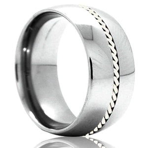 Dome Cobalt band, all high polish with a 1mm hand woven argentium silver inlay Wedding Band-C145SS