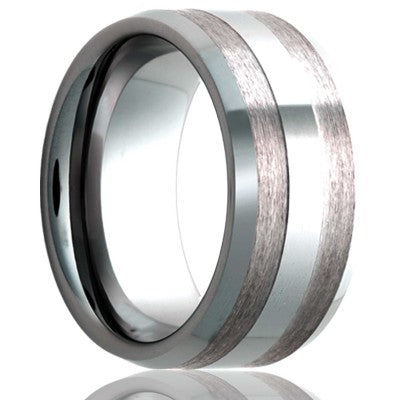 Beveled edge Cobalt Wedding Band-C187
