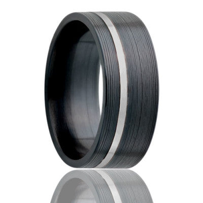 Flat Zirconium Wedding Band-Z402PAL