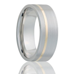 Flat Cobalt band, machine finish with an offset 1mm 14k yellow gold inlay Wedding Band-C402Y