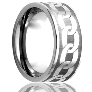 Flat Cobalt band, all high polish with a laser pattern Wedding Band-C101-K