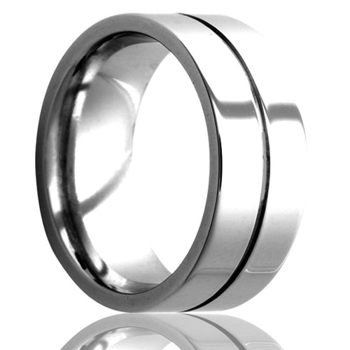Flat Cobalt ring with one center groove all high polish. Wedding Band-C103