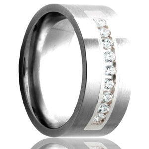 Flat Cobalt band, polished with a satin finish top with approximately .30 ctw set into a palladium inlay Wedding Band-C114D/Channel