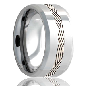 Beveled edge Cobalt band, polished with a 2mm argentium silver engraved inlay Wedding Band-C125SSA