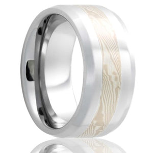 Beveled edge Cobalt band, all high polish with a 3mm mokume gane inlay of 14k white gold silver Wedding Band-C125W/SS