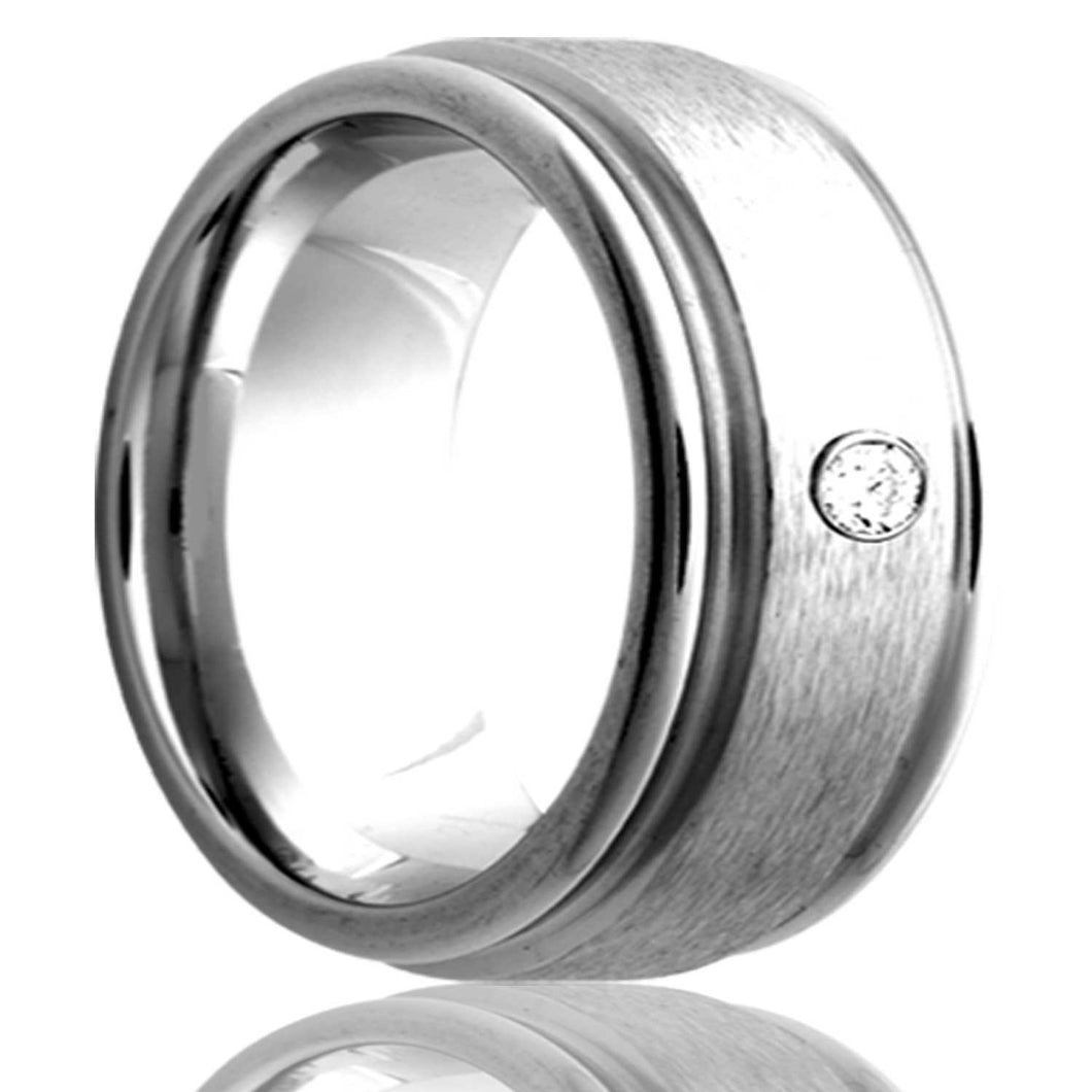 Deep groove Cobalt band,polished with a satin center.  .06 G-H, SI1 Wedding Band-C128D1