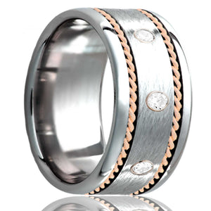 Flat Cobalt band, polished edges with a satin center three .06 diamonds and two hand woven 1mm 14k rose gold inlays Wedding Band-C145R2D3