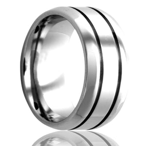 Beveled edge Cobalt ring with two grooves all high polished Wedding Band-C172