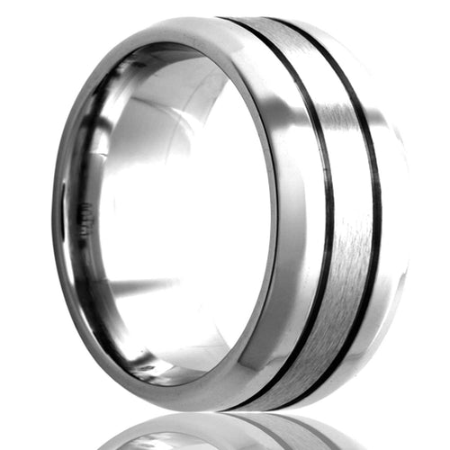Beveled edge Cobalt ring with two grooves polished with a satin finish center. Wedding Band-C173