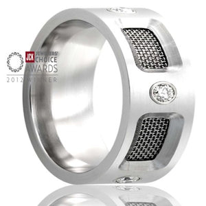 2012 Jewelers Choice award winner. Flat Cobalt band, with mesh screen and five .06 diamonds Wedding Band-C198D5