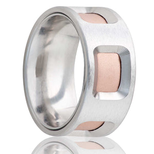 Flat Cobalt ring with cut out windows to reveal an inlay of 14k rose gold Wedding Band-C198R