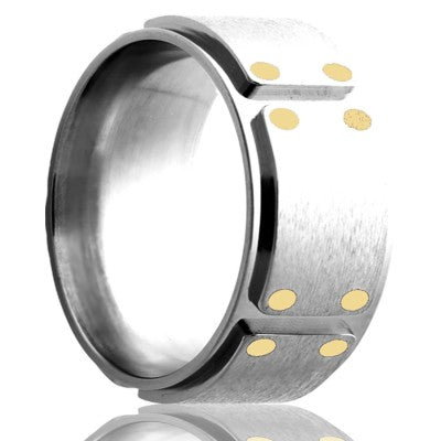 Step edge milled Cobalt band, polished with a satin finish top and 14k yellow gold inlays Wedding Band-C245Y