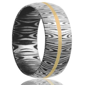 Damascus Steel Wedding Band D111Y