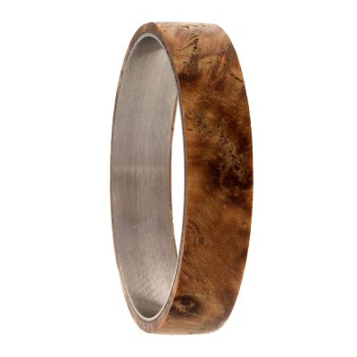 Ash wood Inlay Twist Ring