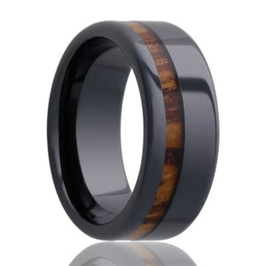 Beveled edge Black Diamond Ceramic ring all high polish with a zebra wood inlay Wedding Band-BC102zebra