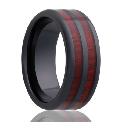 Beveled edge Black Diamond Ceramic ring all high polish with blood wood inlays Wedding Band-BC106blood