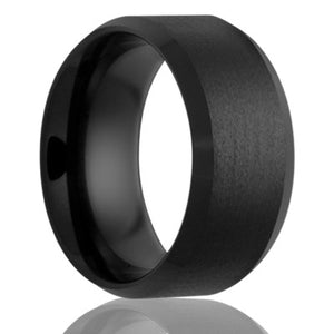Beveled edge Black Diamond Ceramic ring all high polish edges with a satin finish center Wedding Band-BC107