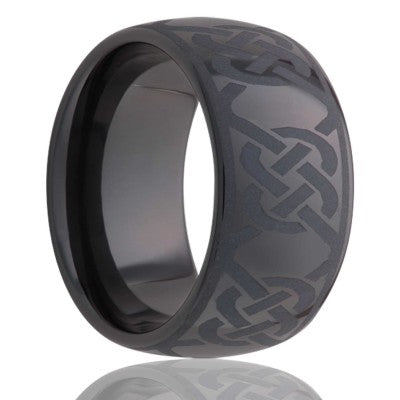Dome Black Diamond Ceramic ring  polished with a laser engraved pattern Wedding Band-BC111-H