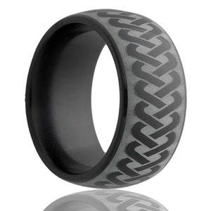 Dome Black Diamond Ceramic ring  polished with a laser engraved pattern Wedding Band-BC111-I