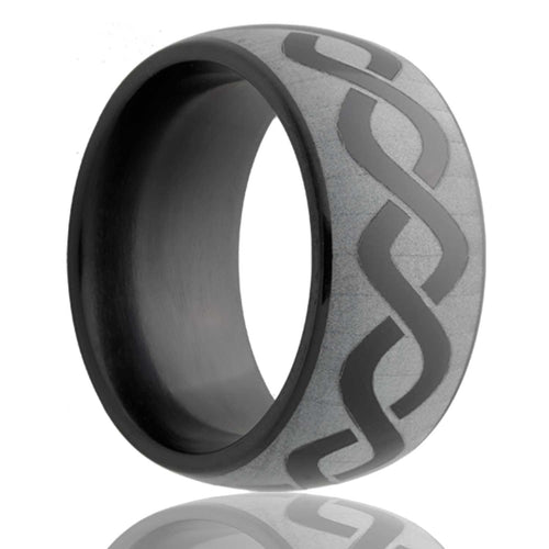 Dome Black Diamond Ceramic ring  polished with a laser engraved pattern Wedding Band-BC111-N
