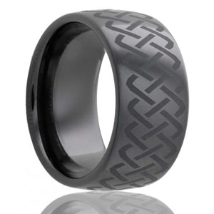 Dome Black Diamond Ceramic ring  polished with a laser engraved pattern Wedding Band-BC111-Q