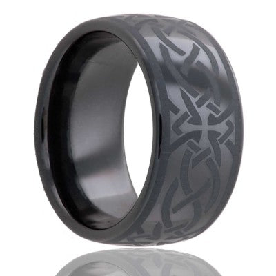 Dome Black Diamond Ceramic ring  polished with a laser engraved pattern Wedding Band-BC111-T