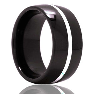 Dome Black Diamond Ceramic ring  polished with a 1mm argentium silver inlay Wedding Band-BC111SS