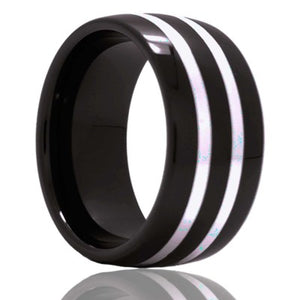 Dome Black Diamond Ceramic ring  polished with two 1mm argentium silver inlays Wedding Band-BC111SS2x1