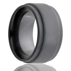 Step edge Black Diamond Ceramic ring with our sand blasted military finish Wedding Band-BC117Sand