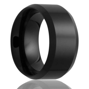Beveled edge Black Diamond Ceramic ring all high polish Wedding Band-BC125