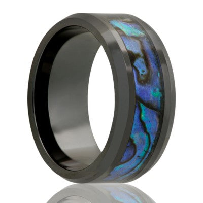 Beveled edge Black Diamond Ceramic ring all high polish with 4mm abalone inlay Wedding Band-BC125ABALONE