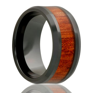 Beveled edge Black Diamond Ceramic ring all high polish with 4mm blood wood inlay Wedding Band-BC125BLOOD