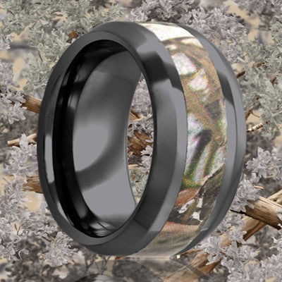Beveled edge Black Diamond Ceramic ring all high polish with a 3mm camouflage inlay Wedding Band-BC125CAM1
