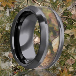 Beveled edge Black Diamond Ceramic ring all high polish with a 3mm camouflage inlay Wedding Band-BC125CAM2