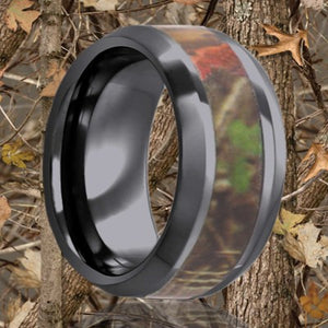 Beveled edge Black Diamond Ceramic ring all high polish with a 3mm camouflage inlay Wedding Band-BC125CAM3