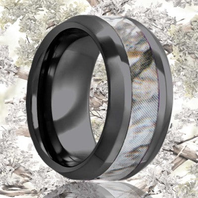 Beveled edge Black Diamond Ceramic ring all high polish with a 3mm camouflage inlay Wedding Band-BC125CAM4