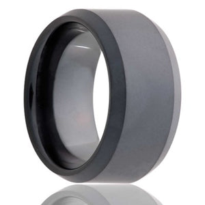 Beveled edge Black Diamond Ceramic ring with our sand blasted military finish Wedding Band-BC125Sand