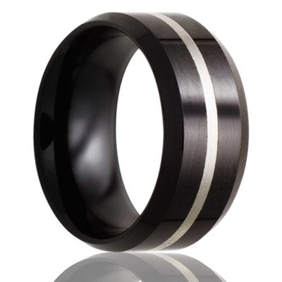 Beveled edge Black Diamond Ceramic ring all high polish with 1mm argentium silver inlay Wedding Band-BC125SS