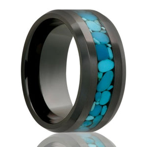 Beveled Black Diamond Ceramic Blue Turqouise Inlay Wedding Band