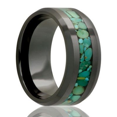 Beveled edge Black Diamond Ceramic ring all high polish with 3mm green turquoise inlay Wedding Band-BC125TURQG