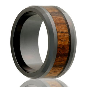 Beveled edge Black Diamond Ceramic ring all high polish with 4mm zebra wood inlay Wedding Band-BC125ZEBRA