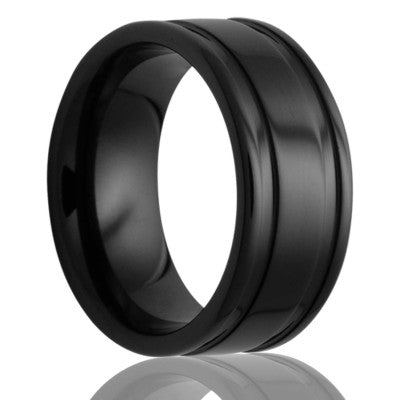 Deep groove Black Diamond Ceramic ring all high polish Wedding Band-BC127