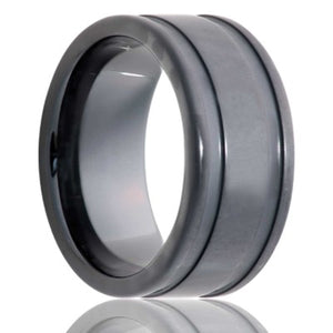 Deep Groove Black Diamond Ceramic ring with our sand blasted military finish Wedding Band-BC127Sand