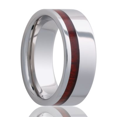 Beveled edge Cobalt band, all high polish with a blood wood inlay Wedding Band-C102blood