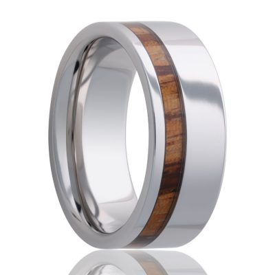 Beveled edge Cobalt band, all high polish with a zebra wood inlay Wedding Band-C102Zebra